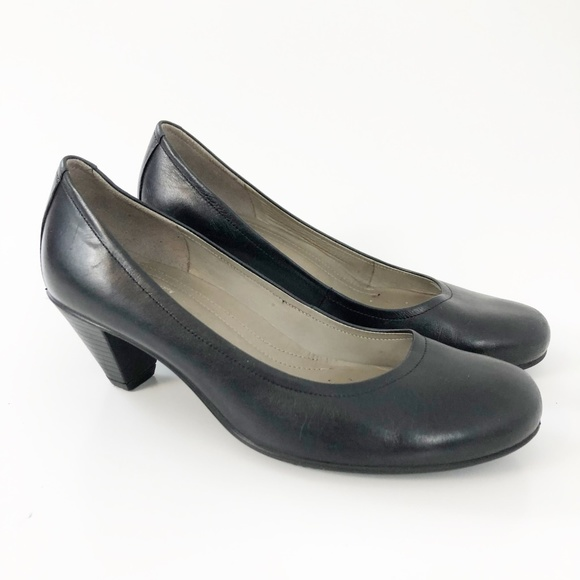 Ecco Black Leather Classic Pump Heel Size 38